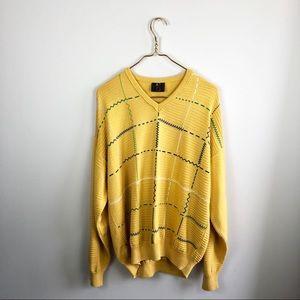 Vintage • Baffo Yellow V-neck Sweater.